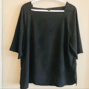 Ann Taylor black square neck knit top